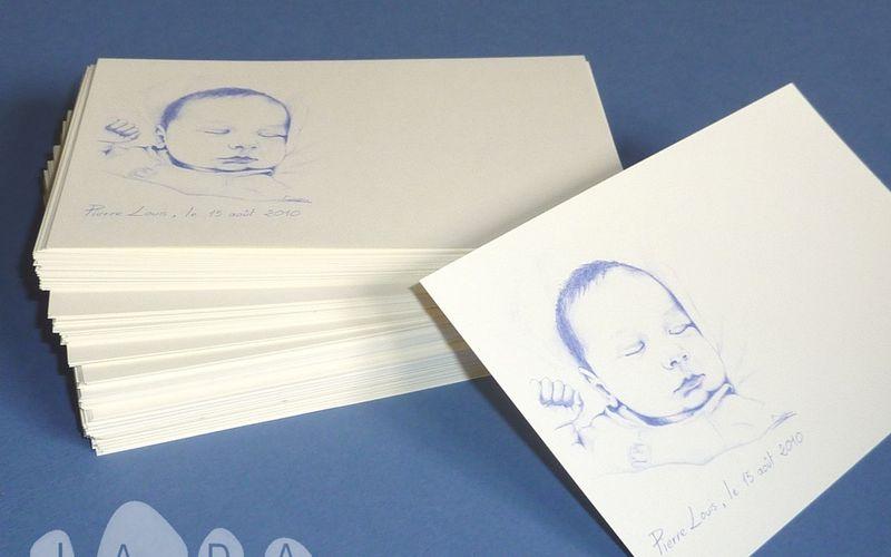 Commande de 150 cartes de remerciement de naissance, dessin d'après photo du bébé...