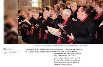 1er octobre 2020 : reprise des répétitions de la Chorale de la Côte des Légendes