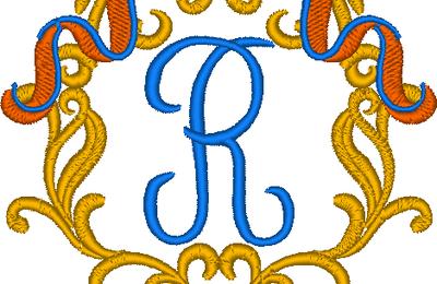 Cadre baroque la lettre R
