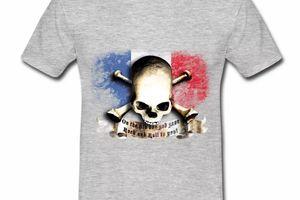 T shirt bleu blanc rouge Drapeau Français Rock HGR