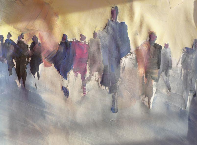 Personnages statiques ou en mouvements.....les espaces se définissent par des plages colorées, graphiques et informelles...les champs visuels ainsi définis deviennent progressivement multidirectionnels et l'on joue à en redéfinir la lecture et