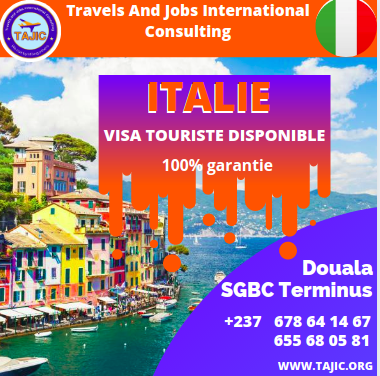 TRAVEL OPPORTUNITY FOR ITALY (tourist visa) opportunity 100% guaranteed Express entry procedure: 01 month Contacts: _ +237 678 64 14 67/655 68 05 81 website: tajic.org facebook: https://web.facebook.com/tajic.org/ Douala branch located at the SGBC terminus