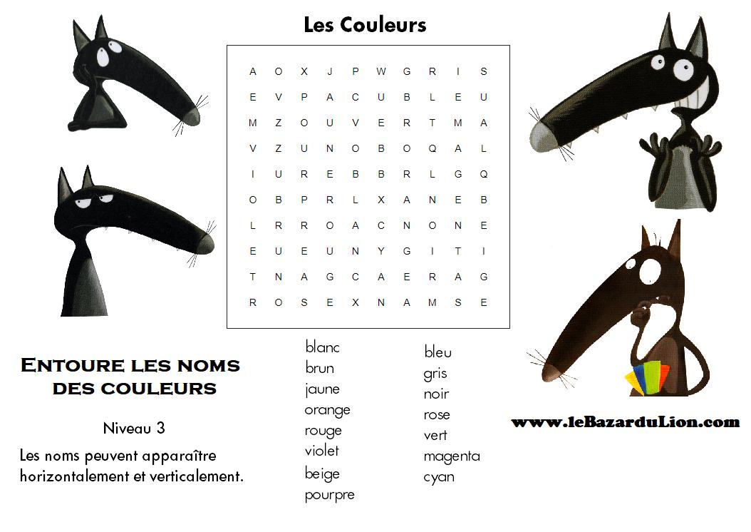 Vocabulaire des couleurs [mots cachés] (Annexe : Le loup qui voulait changer de couleur) [Activité][Loup][GS][CP][CE1]