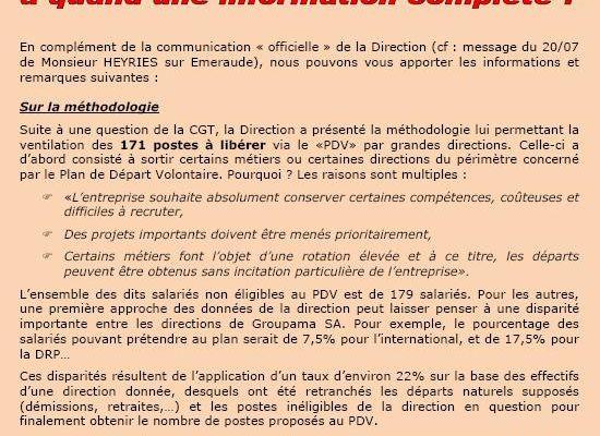 A quand une information complète sur le plan de sauvegarde de l'emploi - tract CGT GSA 2 pages