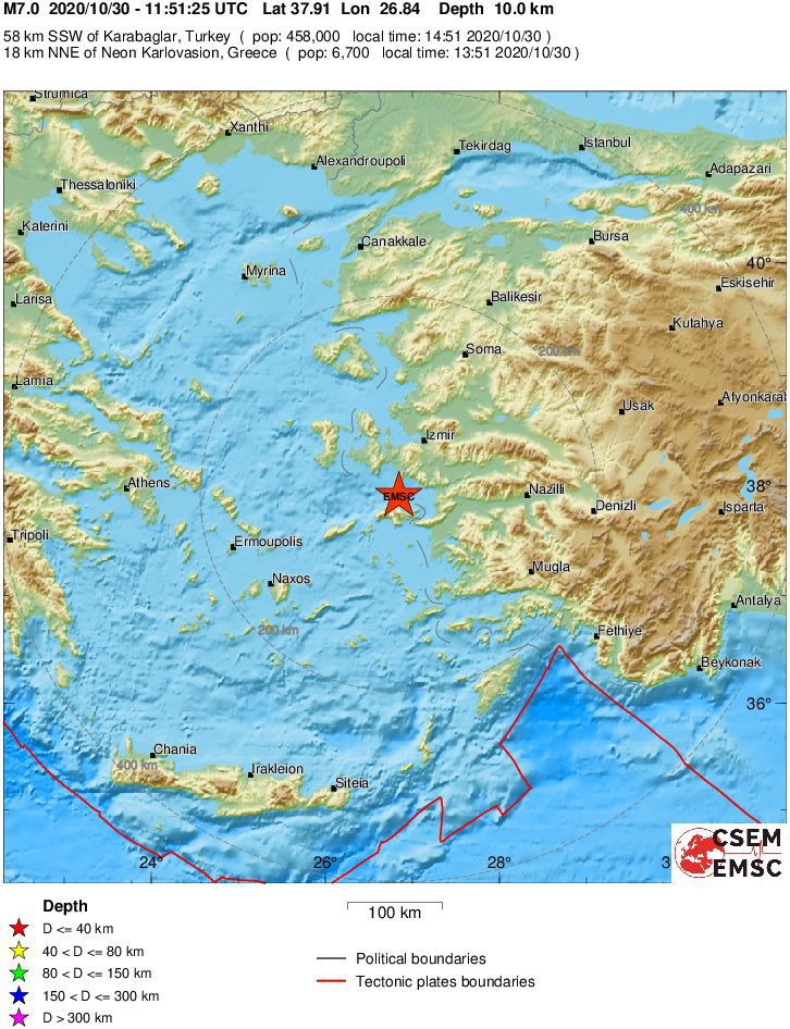 High magnitude and shallow depth earthquake in the Aegean Sea - 10.30.2020 / 11:51 UTC - EMSC maps