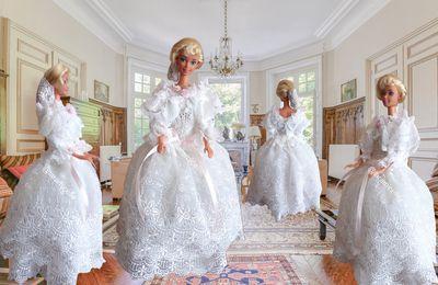 tuto gratuit princesse Barbie  : robe blanche à la rose