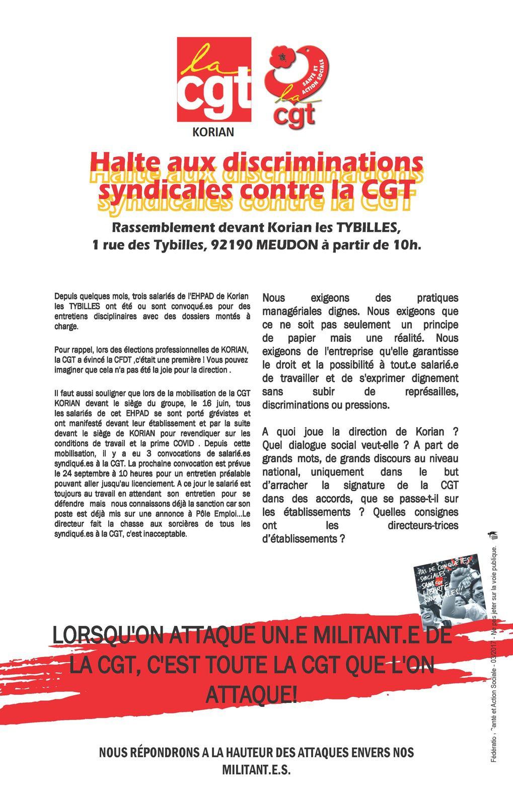 Halte aux discriminations syndicales contre la CGT Korian.