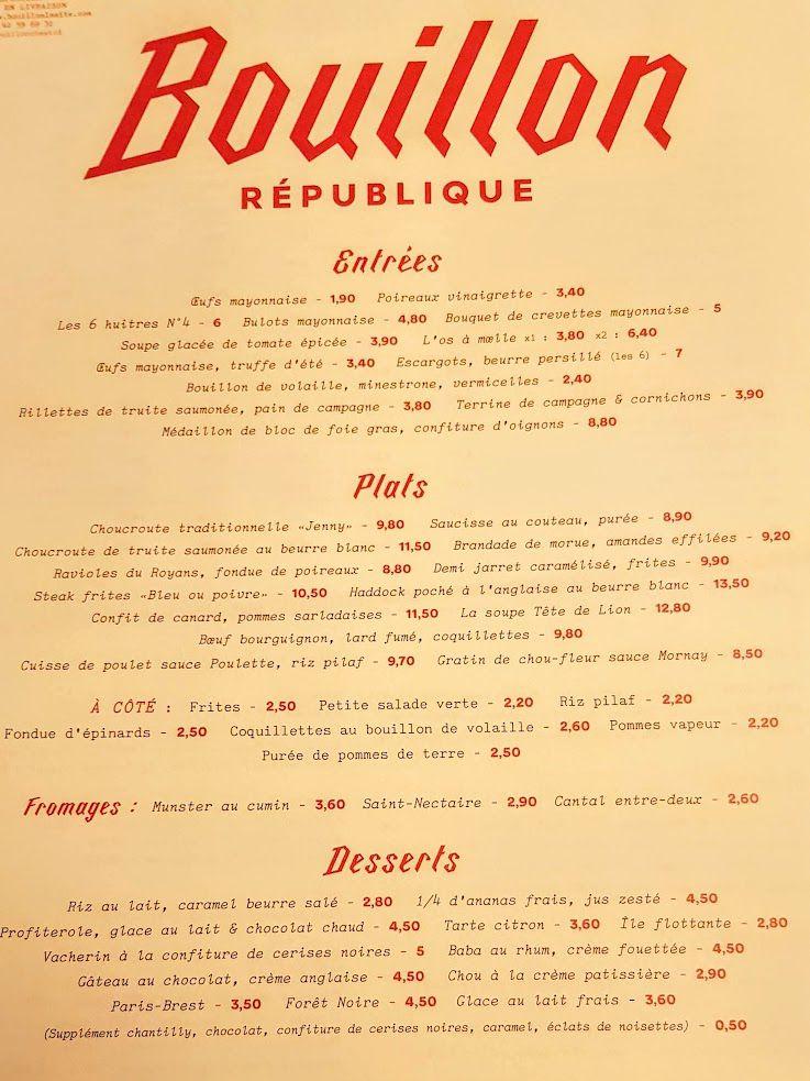 Menu Bouillon République
