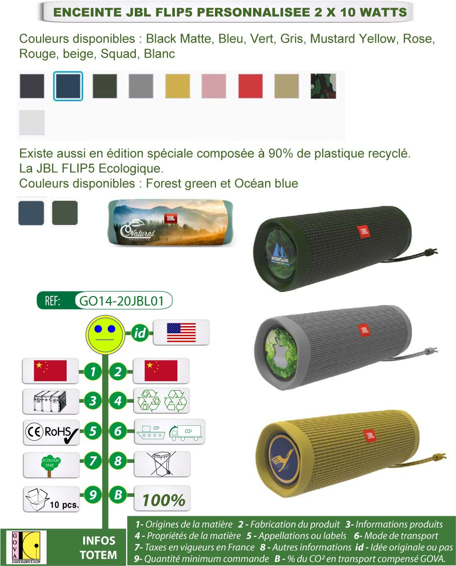 Enceintes JBL 2 x 10 watts publicitaires en plastique recyclé 11 coloris - GO14-20JBL01