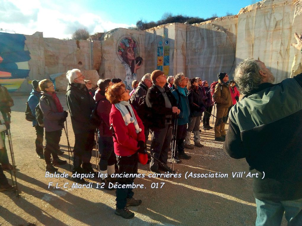 F.L.C en visite du site de l'ancienne carrière pour admirer les 7 fresques monumentales réalisées sur le front de taille.