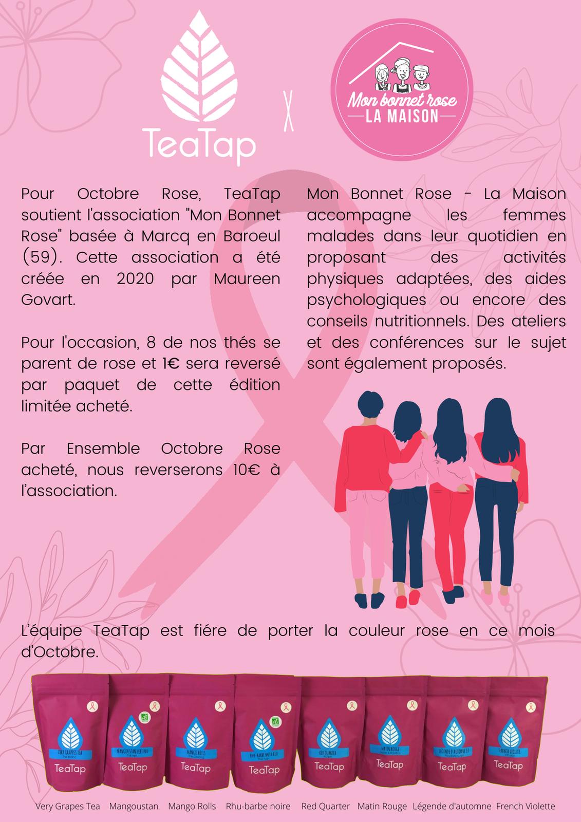 octobre rose mon bonnet rose teatap action caritative france initiative cancer su sein thé tisanes