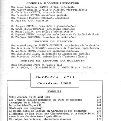 Reproduction du bulletin du CGL N°11 octobre 1989
