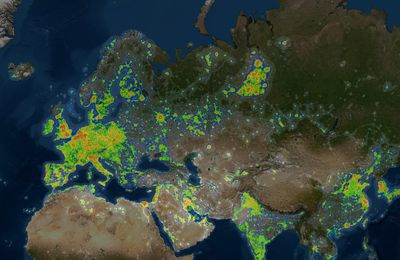 Light pollution - Pollution lumineuse : cartographie globe terrestre