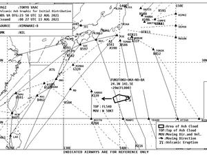 Fukutoku Okanoba - avis de dispersion de cendres par le JMA et le VAAC Tokyo pour le 13.08.2021 - in clic pour agrandir