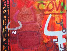 Vache rouge aux graffitis