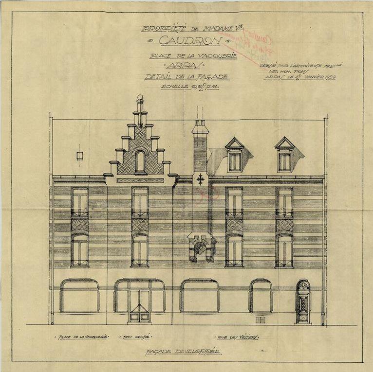 Premier plan, 15 place de la Vacquerie. Honoré Pons, architecte, 1924 - 15 place de la Vacquerie Coutellerie Caudron. Honoré Pons, architecte, 1925