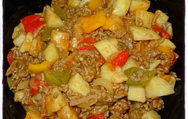 Poêlée pomme de terre boeuf poivron