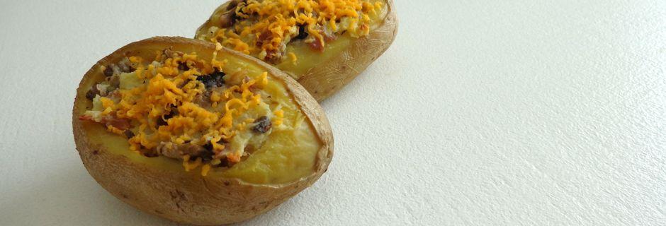 Patates Farcies jambon, champignons et mimolette
