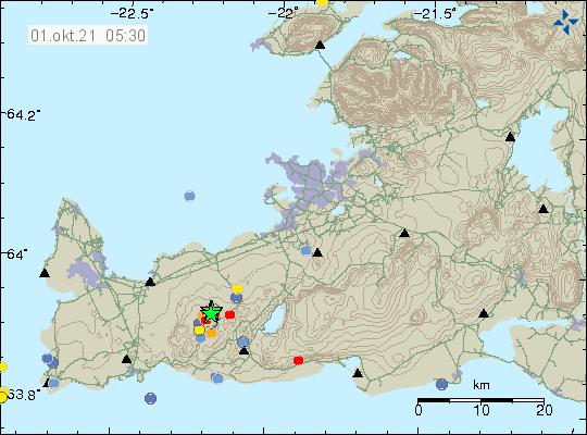 """Péninsule de Reykjanes - essaim sismique au """"2021.10.01_05h30  Péninsule de Reykjanes - Sismicité au  01.10.2021 / 05h30  - IMO"""