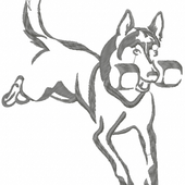 Running dog free embroidery design