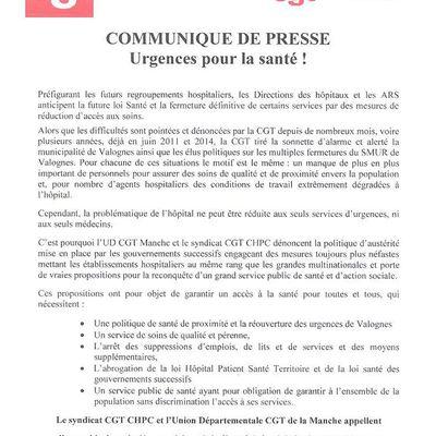Communiqué de presse UD CGT et CGT CHPC: urgences pour la santé! et manifestation samedi 22 août 2015 à Valognes contre la fermeture des urgences