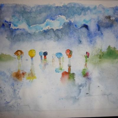 I'm [painting] in the rain....