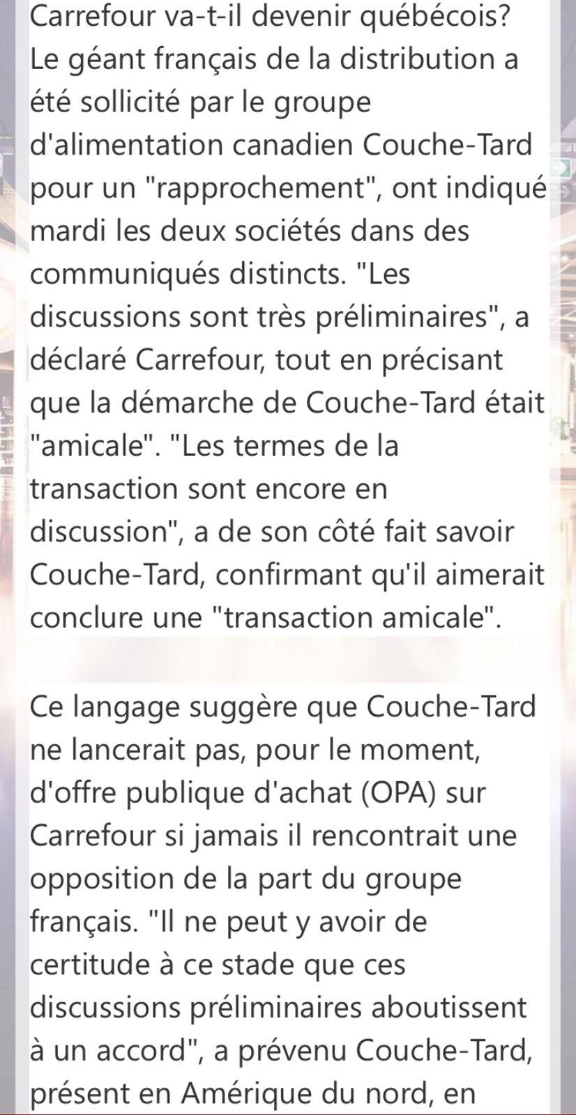 Le groupe québécois couche-tard a sollicité Carrefour «pour un rapprochement «