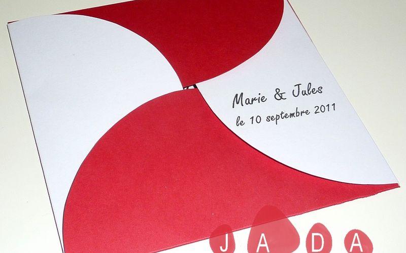 Faire-part de mariage rouge et blanc original...