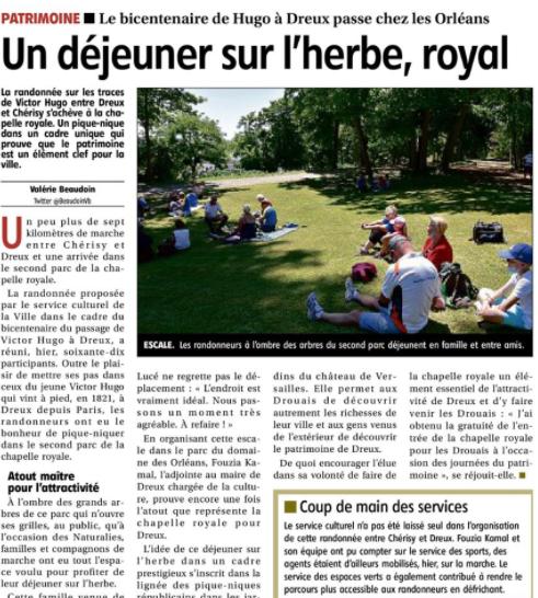 BICENTENAIRE VISITE VICTOR HUGO A DREUX. Randonnée romantique de Cherisy à Dreux.