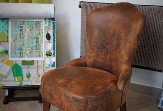 refection petite chauffeuse tissu simili imitation cuir vieilli arabesque