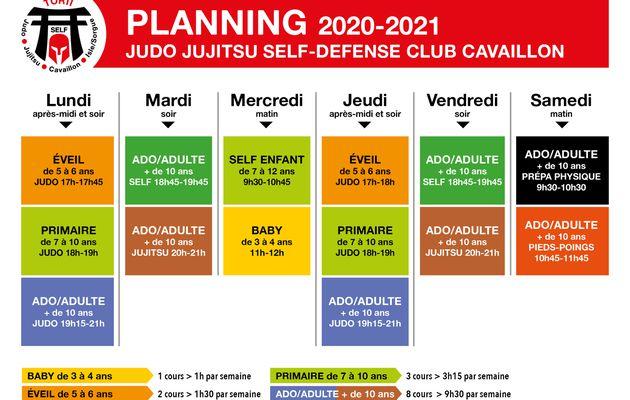 Les plannings de la saison 2020-2021