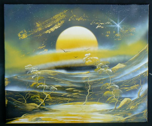 Avec comme pinceau , une spatule et un bombe de peinture , c'est artiste est génial..........