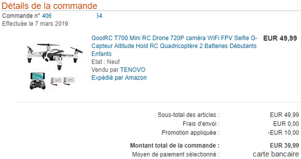 unboxing drone GoolRC T700 Mini RC Quadcopter avec caméra HD 720p @ Tests et Bons Plans
