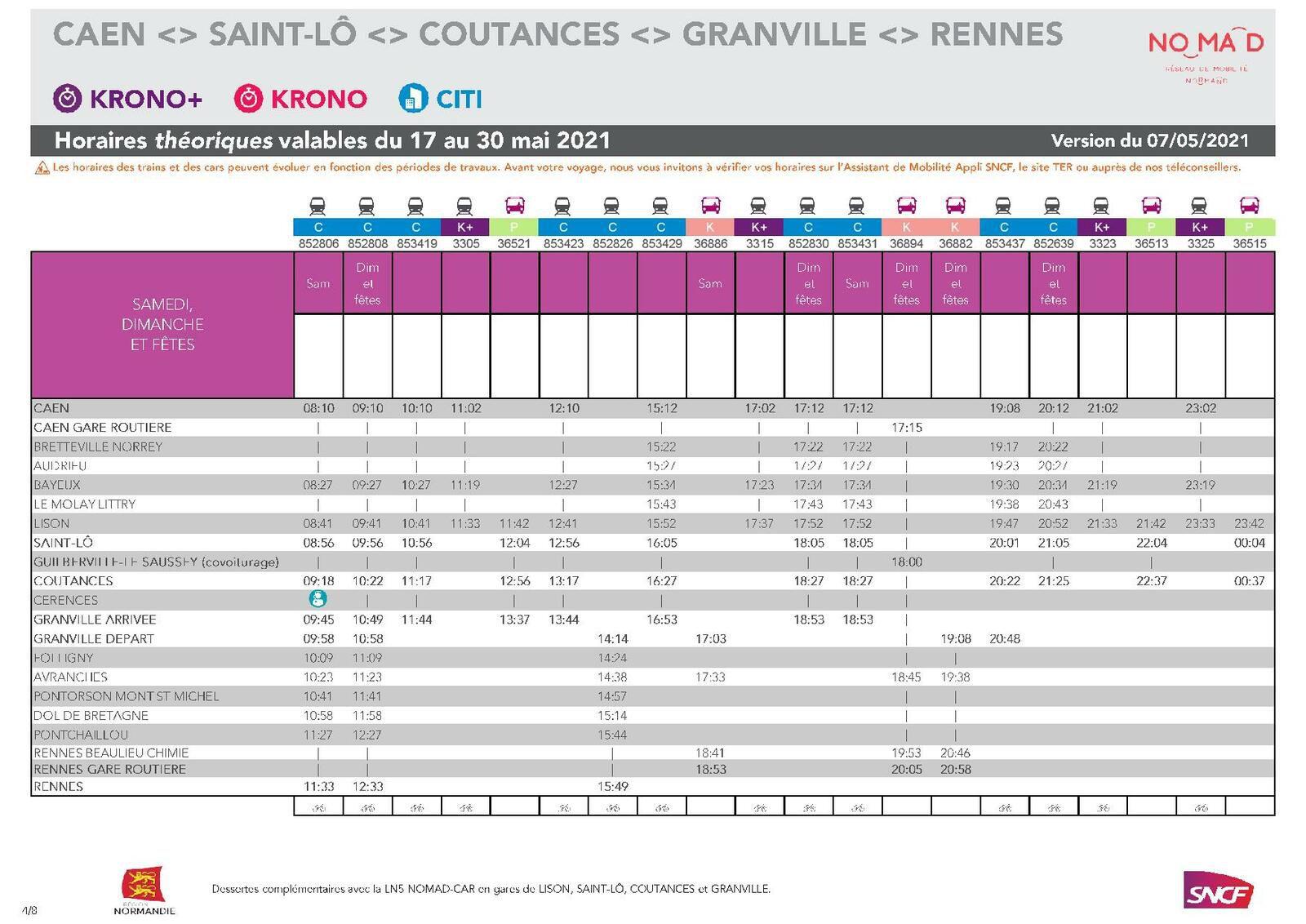 Caen > Rennes du 17 au 30 mai 2021 - Version du 7.05.2021
