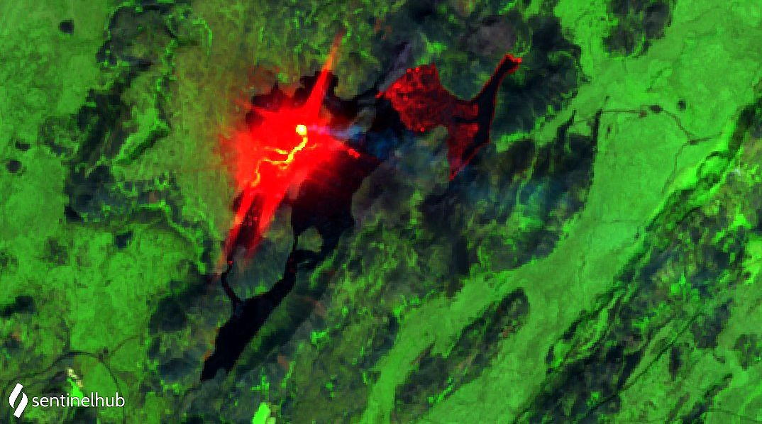 Fagradalsfjall - anomalies thermiques - image Sentinel-2 SWIR /  bands 12,8A,4