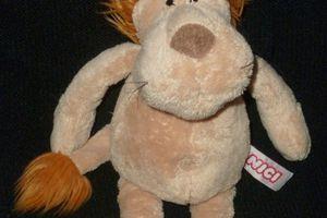 Doudou peluche lion Nici 29 cm, marron