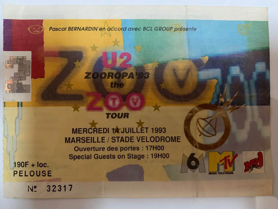 U2 -ZOO TV Tour -14/07/1993 -Marseille -France -Stade Velodrome
