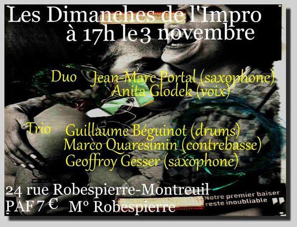 Dimanche de l'Impro du 3 novembre (17h, 7 €)