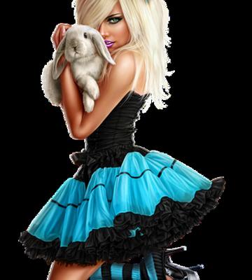 Femme - Blonde - Sexy - Lapin - Render/Tube - Gratuit