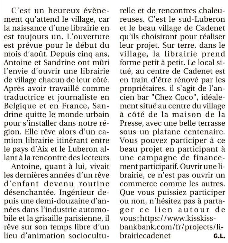 Bientôt une nouvelle librairie dans le village