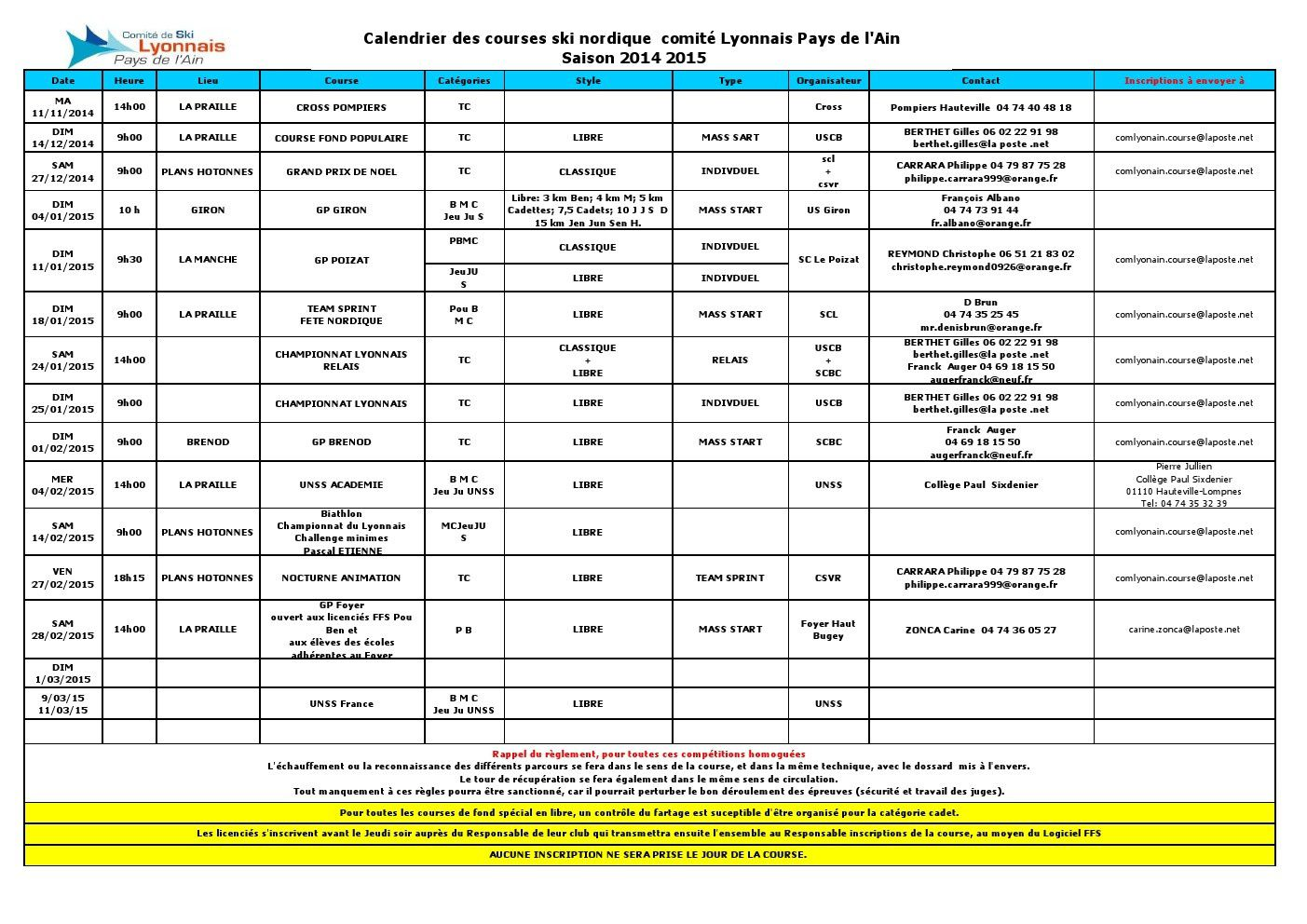Calendrier courses 2014-2015.