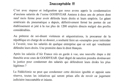 Goodyear : non aux condamnations des militants!