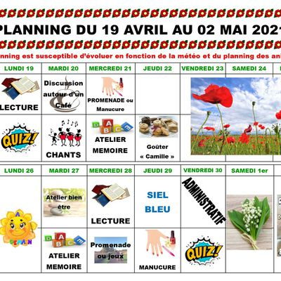 Planning des animations du 19 Avril au 2 Mai