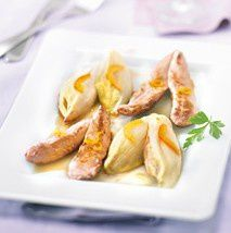 Aiguilettes de canard, endives braisées à l'orange
