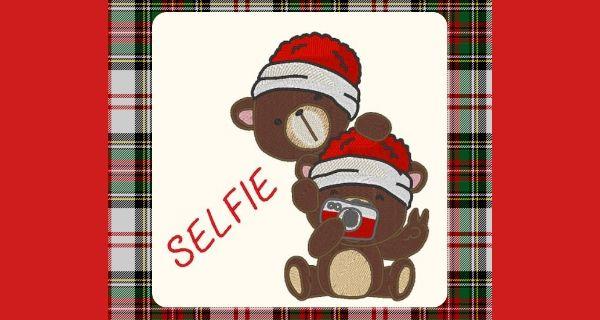 Broderie Oursons le selfie de Noël