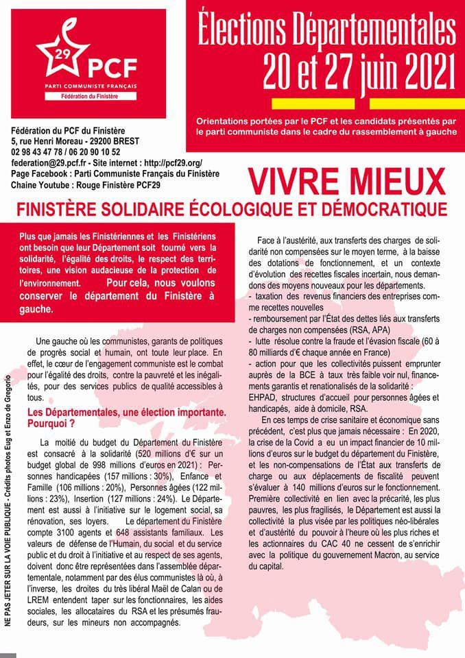 Départementales, 20 et 27 juin 2021 - VIVRE MIEUX. Finistère solidaire, écologique et démocratique - Les propositions du PCF dans le Finistère