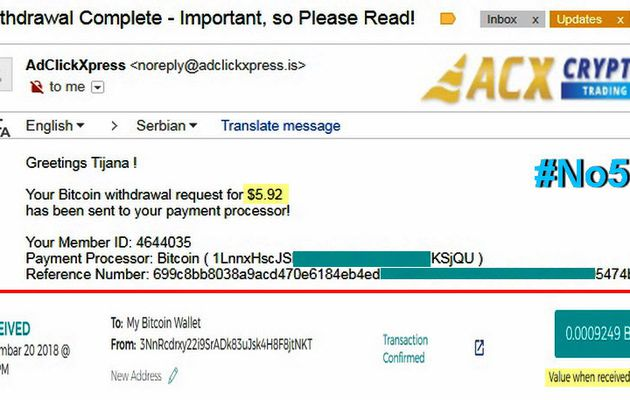 My No57 Withdrawal proof from AdClickXpressCrypto