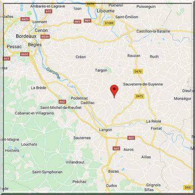 Gironde - Mourens - Position église sur carte