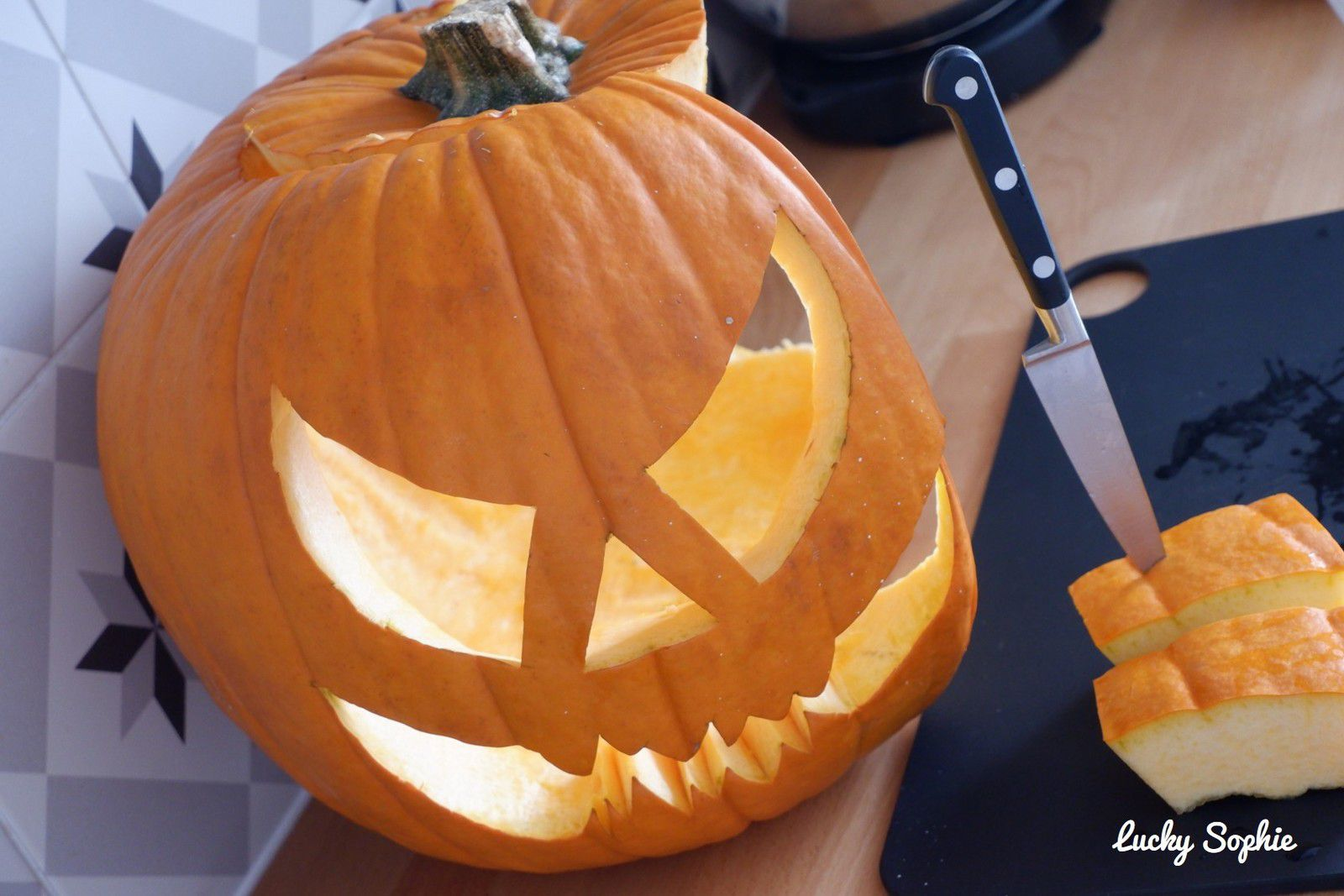 Cuisiner la citrouille sculptée d'Halloween