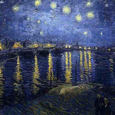 """""""Il y a une étoile mise dans le ciel pour chacun de nous, assez éloignée pour que nos erreurs ne viennent jamais la ternir"""" /  Christian Bobin /  Ressusciter, folio page 15 /   (Van Gogh, Nuit étoilée) /"""